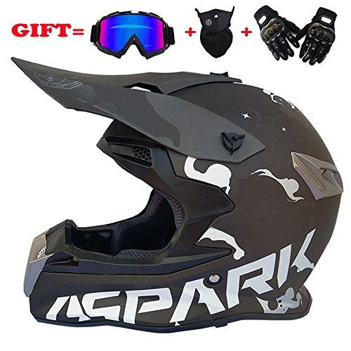 Erwachsener Motocross-Helm Professioneller Jugend-Motorradhelm ATV-Rollerhelm D.O.T Zertifiziert mit Brille-Handschuh-Maske (S, M, L, XL, XXL) / (54-63CM),L(58~59CM)