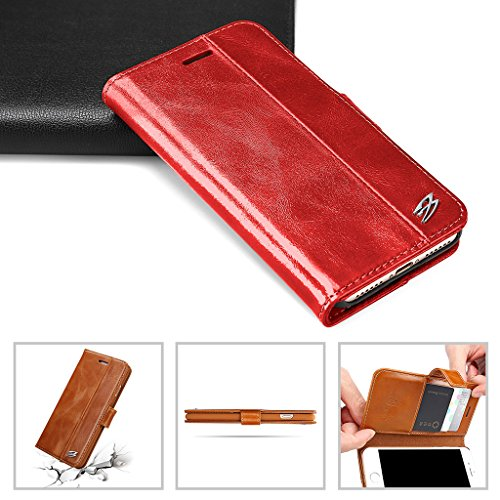 iPhone 7 Echtem Leder Hülle,Careynoce Luxus Handgefertigt Echtem Leder Brieftasche Magnetischen Flip Schutzhülle für Apple iPhone 7(4.7 Zoll) -- Braun M03