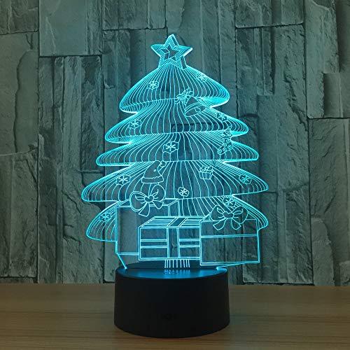 3D Lampe Weihnachtsbaum Nachtlicht Baby LED Nachttischlampe 7 Farbe Dimmen 3D Tischleuchte für Weihnachtsgeschenk