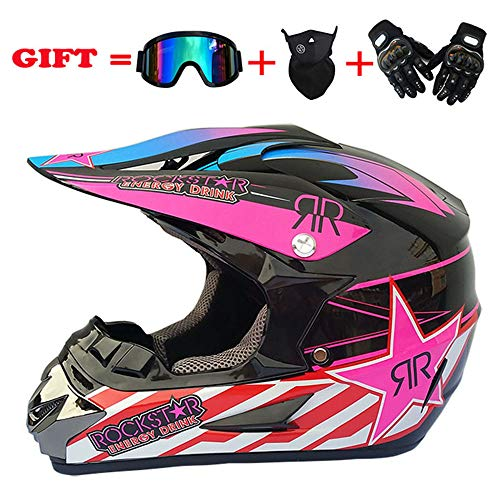 EDW Casco Integrale da Cross MX Motocicletta da Adulto ATV Scooter Fuoristrada DOT (Dirt Bike Gloves, Occhiali, Maschera, Set di 4 Pezzi, Disponibile in più Colori e Stili),Pattern2,L(59~60cm)
