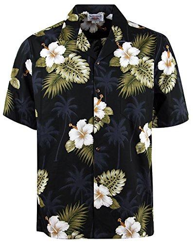 Original Hawaiihemd | Herren | Kurzarm | Front-Tasche | Hawaii-Print | Hibiskus Allover Blumen Blätter