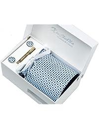 Coffret Cadeau Ensemble Cravate homme, Mouchoir de poche, épingle et boutons de manchette Bleu a points