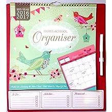 20162017académico calendario organizador de mitad home-school organizador con bolígrafo (3933), color Vintage Birds