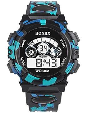 Souarts Kinder Sport Digitaluhr LED Uhr mit Wecker Multifunktion Silikon Armband Digital Display uhr für Jungen...