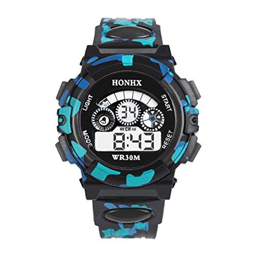Souarts Kinder Sport Digitaluhr LED Uhr mit Wecker Multifunktion Silikon Armband Digital Display uhr für Jungen Mädchen Tarnung Farbe Schwarz