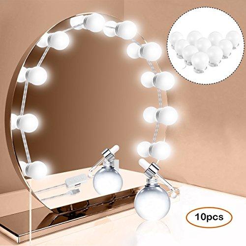 ANSTEN Luci Specchio per Lo Stile di vanità LED di Hollywood, luci Specchio per Trucco con dimmerabili, Striscia di Illuminazione per Tavolo da Trucco Set in Camera da Letto spogliatoio -10 PCS