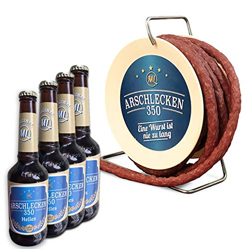 Arschlecken 350 Wursttrommel Bierset, 3,5m lange, scharfe Snackwurst (240g) & 4 Flaschen Bier á 0,33l