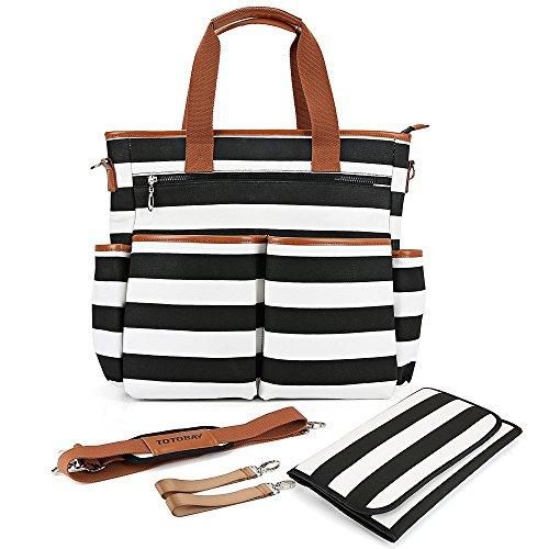 ([DESIGN 2018]Wickeltasche Babytasche Große Kinderwagentasche in schwarz-weiß mit 13 Taschen Wickelunterlage und Universal Kinderwagen Befestigung Multifunktionale Mama Tasche für Kinderwagen Buggy)