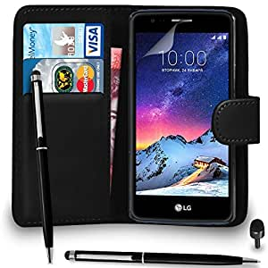 more photos 49945 c13ea Premium Leather BLACK Wallet Flip Case LG K8 2017 Case Cover Ball Pen Touch  Stylus Screen P