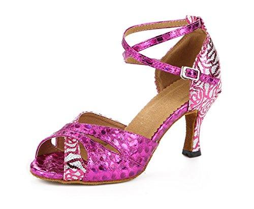 Honeystore Neuheiten Frauen's Pailletten Heels Absatzschuhe Moderne Latein-Schuhe mit Knöchelriemen Tanzschuhe LD0125 Fuchsie 40 CN