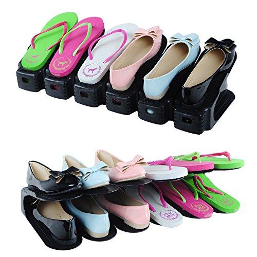 Schuhstaplerset Schuhstapler Set 6x Schuhstapler Schuhhalter Schuhorganizer Set Schuhregal Kunststoff Schwarz Platzsparend