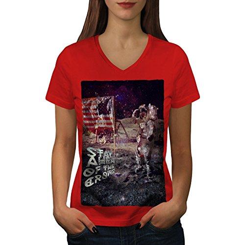 wellcoda Apollo Galaxis Frau V-Ausschnitt T-Shirt Galaxis Grafikdesign-T-Stück