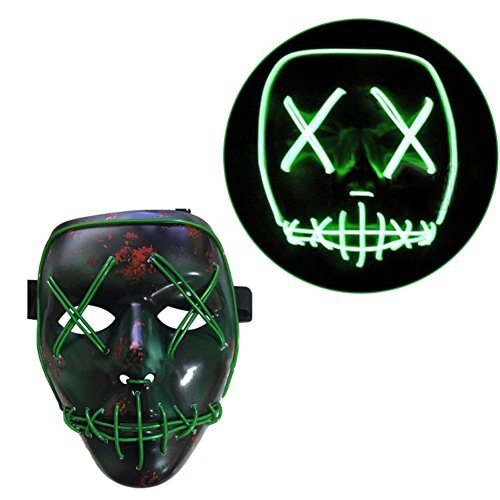 LQZ Leuchten Maske Halloween Cosplay LED Masken Leucht Partymaske EL Wire Drahtmaske Horror Party