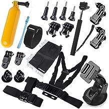 comwinn esencial Kit de accesorios para GoPro Hero 43+ 321Negro y Plata SJ4000SJ5000SJ6000, juego de accesorios para deportes en deportes al aire libre