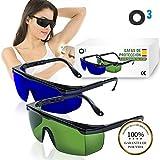 O³ Gafas Laser Depilación - 2 unidades Gafas de protección para depilación HPL/IPL/Luz Pulsada - Gafas De Seguridad Para Protección de Ojo 1 de color verde + 1 azul