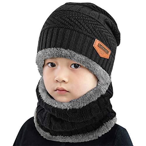 UMIPUBO Kinder Schal und Hut Set Babymütze Beanie Hüte Schal Plüsch Warme Dicke Knit Hut Woll Schal Mützen für Jungen Mädchen (Schwarz)