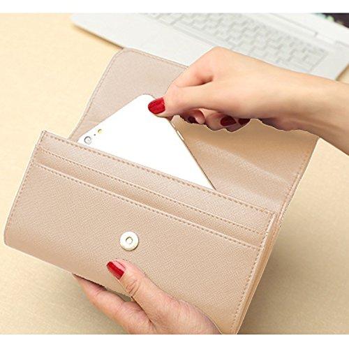 Sasairy RFID Blocco Portafoglio Donna in Pelle Sintetica Multi Card raccoglitore dell'organizzatore con Pocket Zipper-Marrone chiaro Marrone chiaro