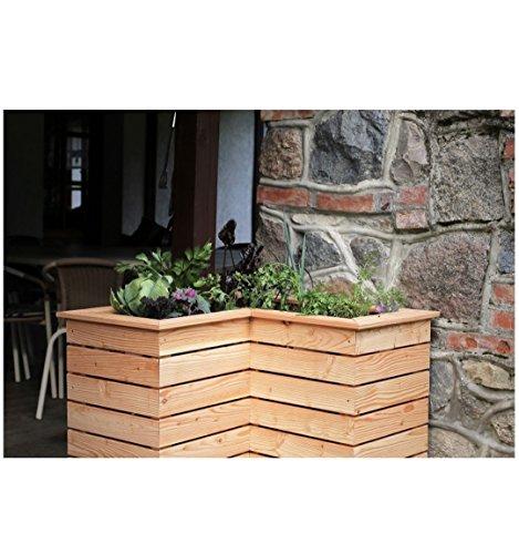 Metallmichl Eck-Hochbeet aus Lärchenholz, 80 x 80 x H 72 cm (Kleiner Winkel 40x40) Frühbeet Pflanzkasten Gemüsebeet für Garten und Balkon