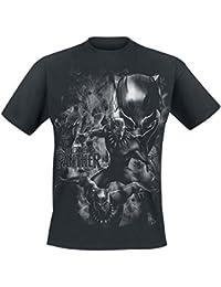 Black Panther Negro Pantera camiseta para hombre del negro de algodón de neón de la cara T'Challa Marvel UFBBRP1SYO