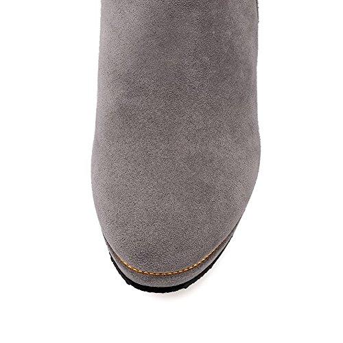 AgooLar Damen Reißverschluss Rinder Wildleder Rein Stiefel mit Metallisch Grau