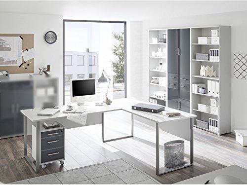 SUPER XXL Set Büromöbel Office Line Luxo 5 teilig II Graphit-Lichtgrau -
