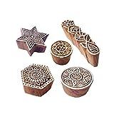 Royal Kraft Indisch Muster Mischen und Runden Holz Blöcke für Drucken (Set von 5)