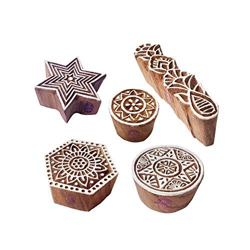 Royal Kraft Indisch Muster Mischen und Runden Holz Blöcke für Drucken (Set von 5) -