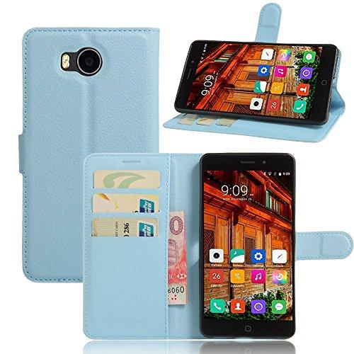 Tasche für Elephone P9000 Lite Hülle, Ycloud PU Ledertasche Flip Cover Wallet Case Handyhülle mit Stand Function Credit Card Slots Bookstyle Purse Design blau