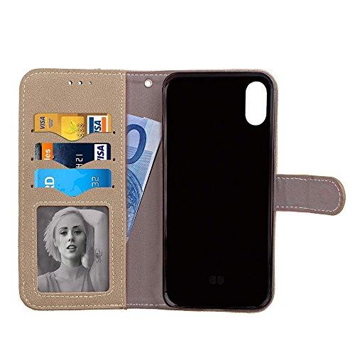 EKINHUI Case Cover Mattes PU-Leder-Etui, Magnetisches Bookstyle-Folio-Stand-Shell-Cover mit abnehmbaren Karten-Aufbewahrung für iPhone X ( Color : Rose ) Gray