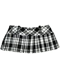 Tartan Mini Skirt 12in length (30.5cm) by Crazy Chick (14, GREY WHITE)