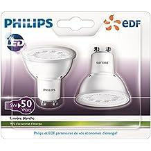 Philips Lot de 2 Ampoules LED Spot Culot GU10 5W Consommés Équivalent 50W Partenariat Philips/EDF