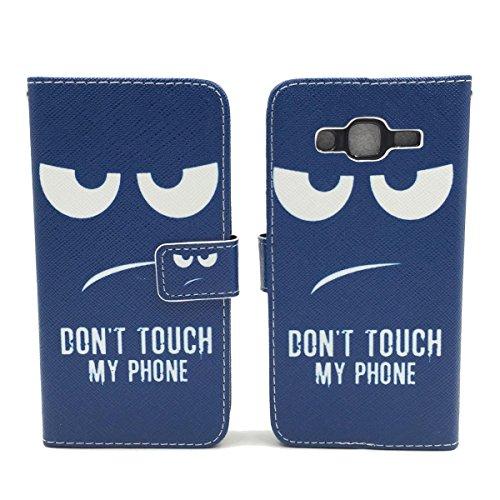 Roi Boutique Housse pour Apple iPhone se Flip Cover Case Étui de protection Motif Wallet Don't touch my Phone Blau