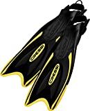 Adjustable Schnorcheln Fins–Long Versatile Open Heel Flippers–Palau LAF Made in Italy by Cressi: Quality Since 1946, Unisex – Erwachsene, CA115144, Schwarz / Gelb, Large/X-Large