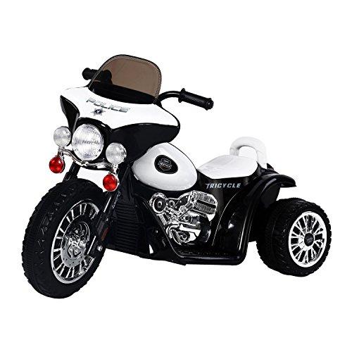 homcom Mini Moto Triciclo Elettrico per Bambini con Luci e Musica, velocità 2.5KM/h in PP Nero, 80 x 43 x 54.5cm