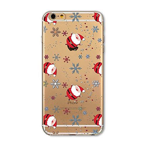 Ukayfe Copertura Custodia dura per la iphone 6 Plus/6S Plus,Serie di Natale Custodia Ultra Slim Modello TPU Gel Silicone Protettivo Skin Protettiva Shell Case Cover per iphone 6 Plus/6S Plus , Creativ Babbo neve