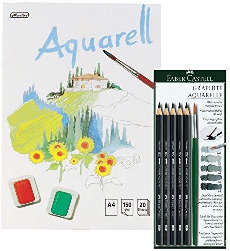 Faber Castell 117897 Set Bleistift Graphit Aquarelle + Pinsel, incl. Aquarellblock