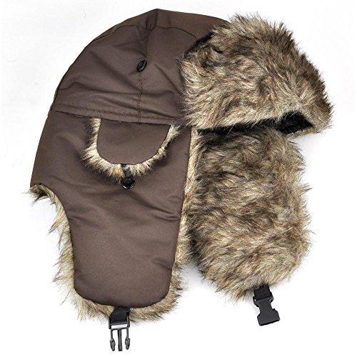 Popamazing Russian Style Mens Faux Fur Lined Trapper Hat Winter Waterproof