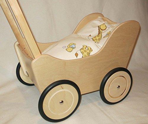 Lauflernwagen Puppenwagen natur aus Holz mit Bremse und Wäsche