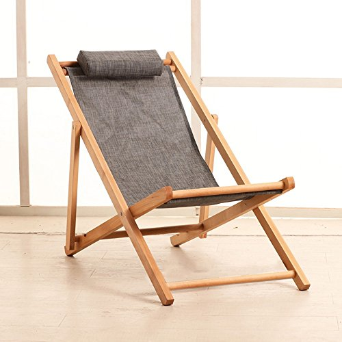 Folding chair LVZAIXI Freizeit-faltender Strand-Stuhl-Segeltuch-Swimmingpool-Außenaufenthaltsraum-Stuhl (Farbe : Gray)