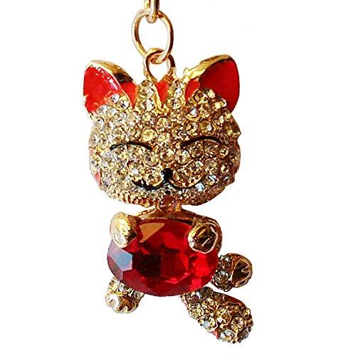 Utrendo Portachiavi Donna d'oro gatto felice