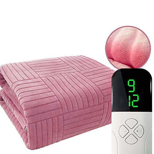 JFZCBXD Elektrische Heizdecke mit Einstellbarer Timer Beheizte Decke mit Fast-Heiztechnologie und maschinenwaschbar Flanell für Ganzkörper-Komfort,Rosa,180 * 200cm