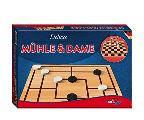Noris 606108012 606108012-Deluxe-Mühle und Dame, Spieleklassiker