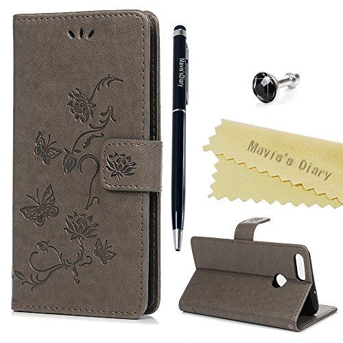 Huawei P Smart Hülle Case Mavis's Diary Lotusblume Muster Leder Tasche Handyhülle Flipcase Cover Skin Ständer Schutzhülle Schale Klappbar Ledertasche Magnet Bumper Brieftasche Handytasche-Grau