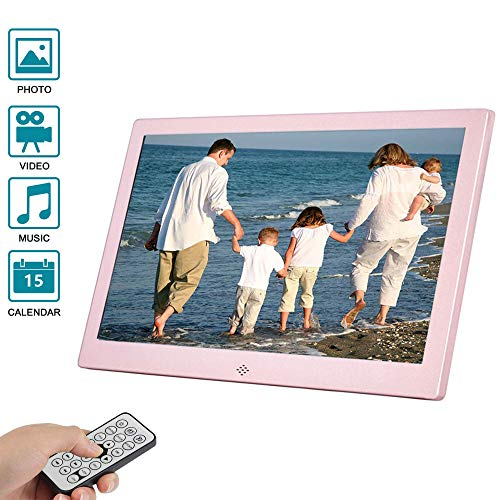 E-kinds 12 Zoll Digitaler Bilderrahmen, Hochwertiger LCD-Videoplayer-Monitor mit LED-Hintergrundbeleuchtung, Kalender/Uhr, 32GTF-Karte,Pink