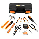 VonHaus 39Pc Orange Tool Kit Set – Household / Workshop with Hard Storage Case Box – incl. Claw Hammer, Screwdrivers, Pliers, Wrench, Scissors 3m Tape & 20x Bits
