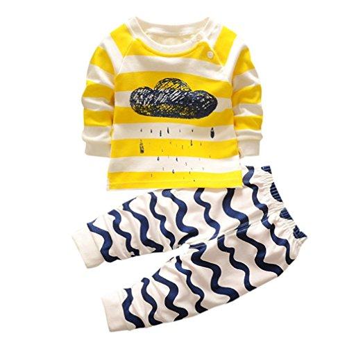 Kinder Kleidung Set, Sonnena Neugeborene Baby 2 Stück Karikatur Wolken Drucken Tops Langarm Tütü Gestreift T-Shirt +Lang Hose Outfits Set Babykleidung Kinderkleider (2 Jahre, Gelb)