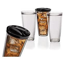 Creative Bath IN622CLR Insulated Tumbler Set with Lids (6 Pack), Clear