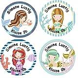 Papierdrachen 24 individuelle Aufkleber für Kinder - Motiv Meerjungfrau - personalisierte Sticker - Schule Einschulung