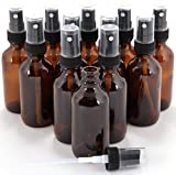 12 New, High Quality, 1 oz Amber Glass Bottles, with Black Fine Mist Sprayer