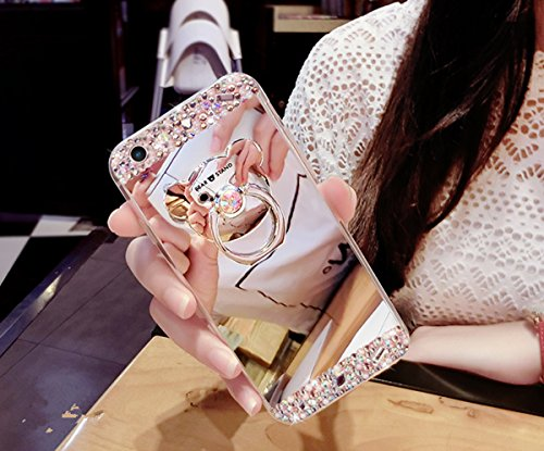 Preisvergleich Produktbild iPhone 7 Hülle, iPhone 7 Spiegel Hülle Mirror Case, Ukayfe [Glitzer Strass Bär Handy Ständer Ring Holder] Glitzer Silikon Hülle iPhone 7 Rose Gold Plating Silikon Schutzhülle Luxus Glänzend Glitzer Kristall Strass Rahmen Weich TPU Handy Tasche Ultra Dünn Silikon Weich Crystal Handyhülle mit Make Up Spiegel Mirror Kratzfeste Handy Tasche Schale Etui Bumper für iPhone 7 4.7 Zoll- Silber